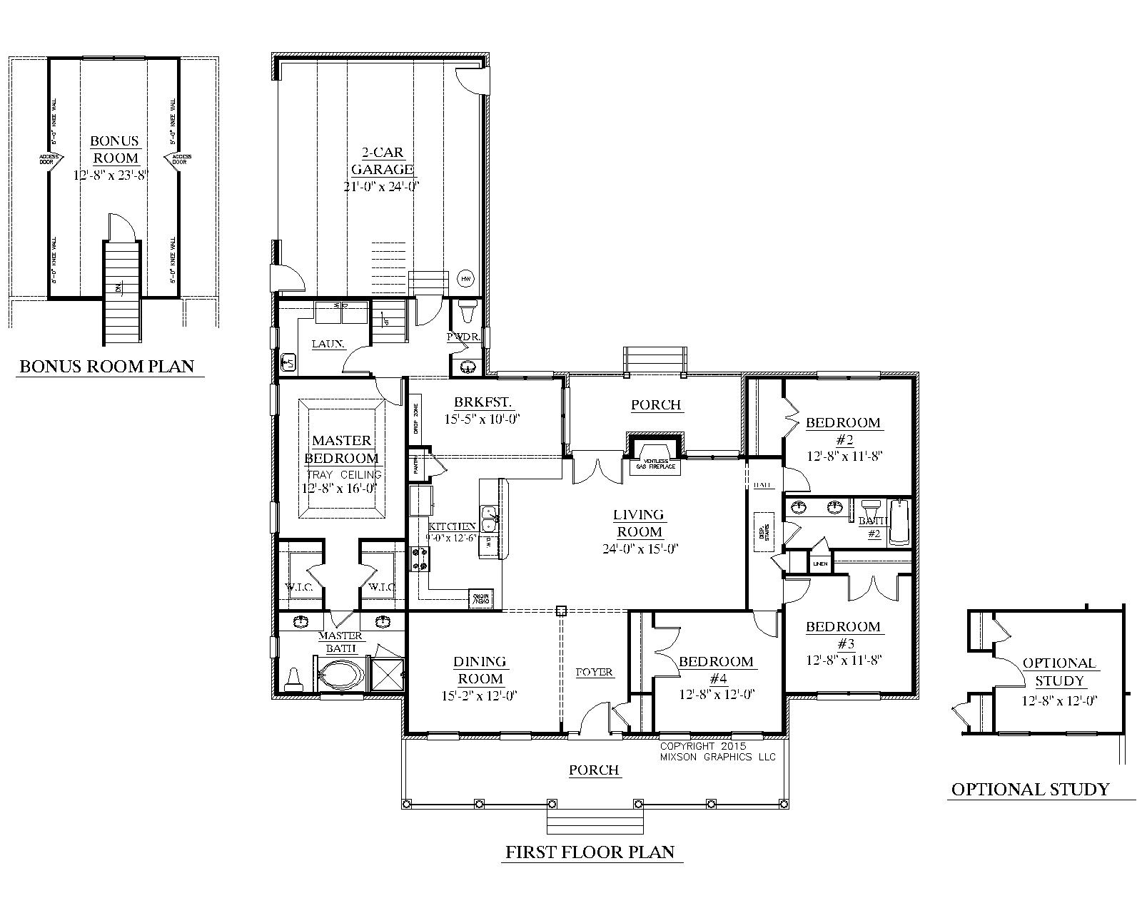 House plan 2224 2 b the birchwood b floor plan beautiful for One story house plans with bonus room