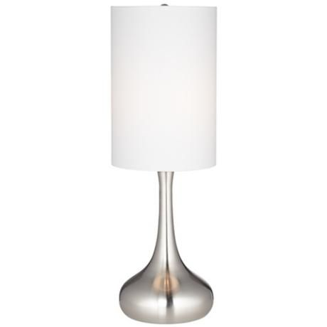 Droplet Table Lamp in Steel Finish with Cylinder Shade ...