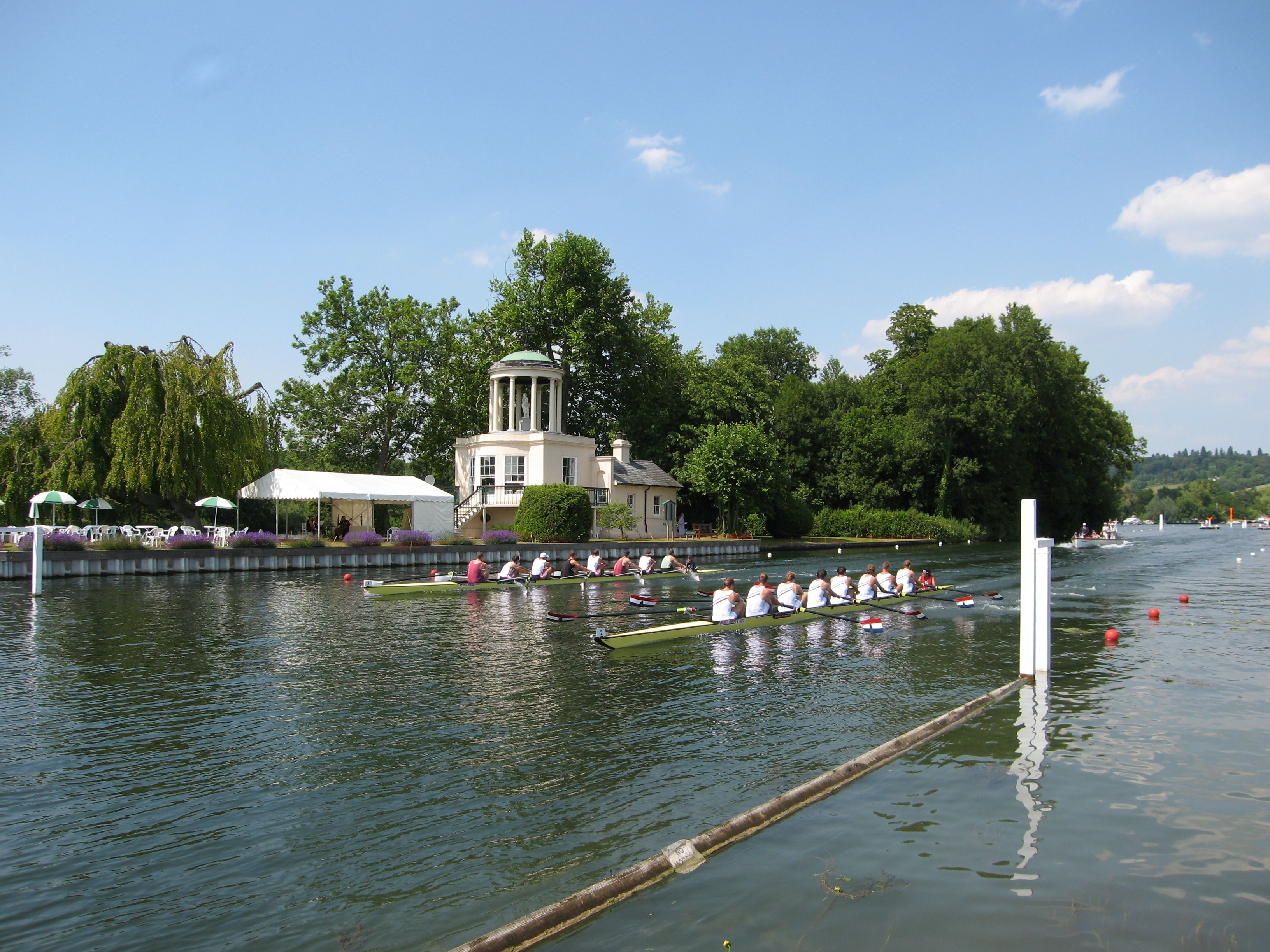 Riverside view from Temple Island Enclosure http://www.ambro-events.com/hospitality/rowing/henley-royal-regatta-hospitality/