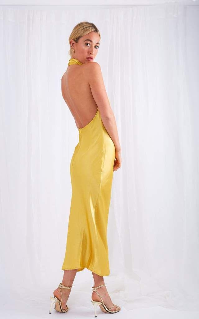 Raleigh Halterneck Dress – Yellow Ochre – Dress