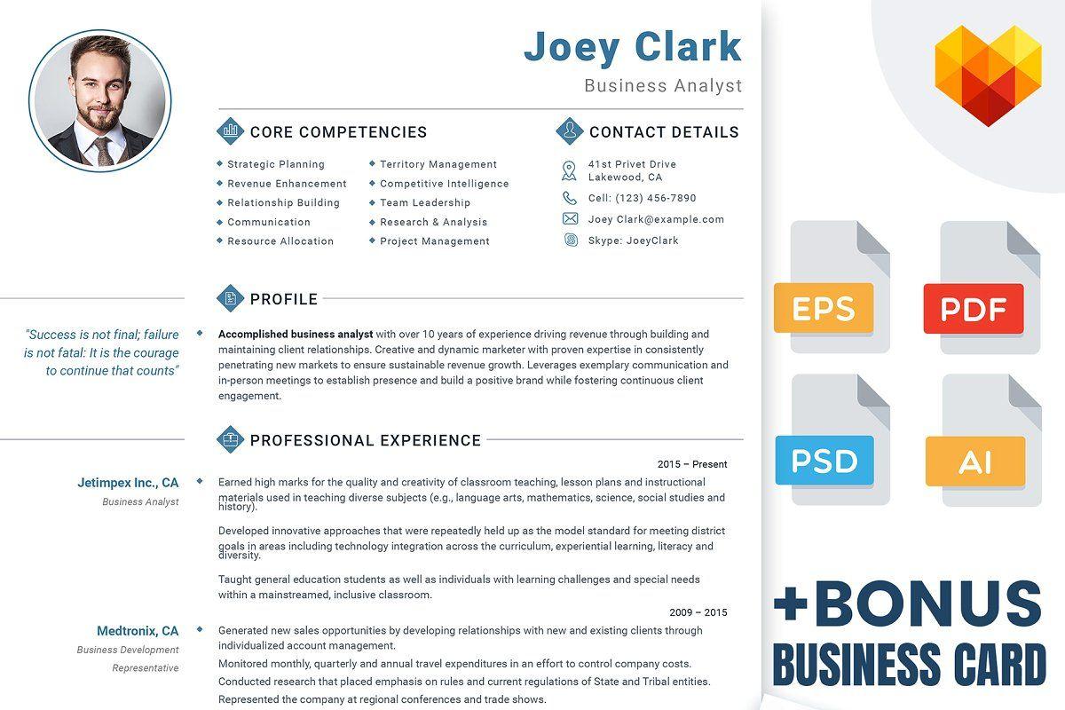 Business Analyst CV + Business Card