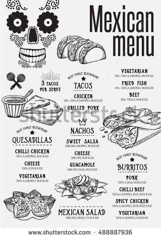 Mexican menu placemat food restaurant brochure, template