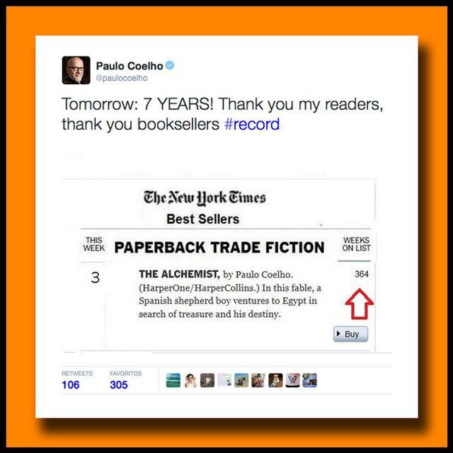 'El Alquimista' de @PauloCoelho rompe todos los récords con sus 7 años consecutivos en el Top Ten de libros más vendidos en la lista de Bestsellers del @NYTimes.