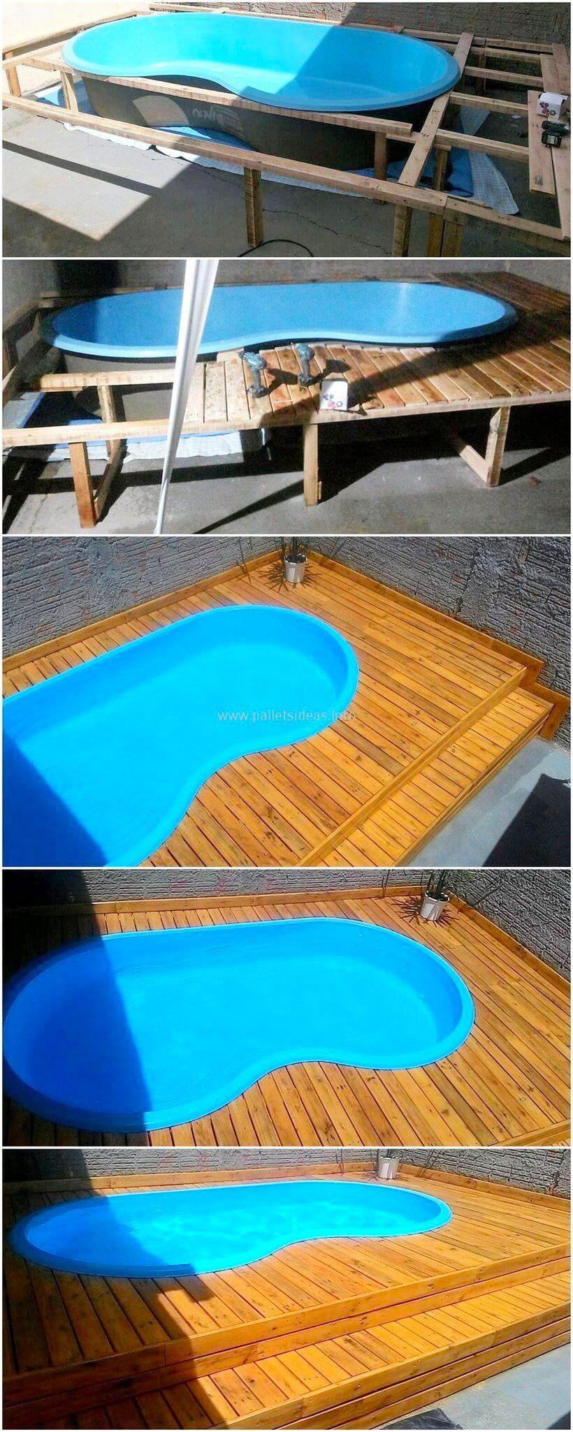 25 Diy Pallet Pool For Rexgarden Pallet Pool Pool Deck Plans Building A Deck