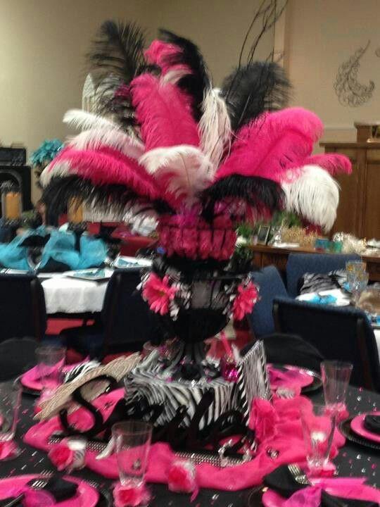 Pink Black feather center piece