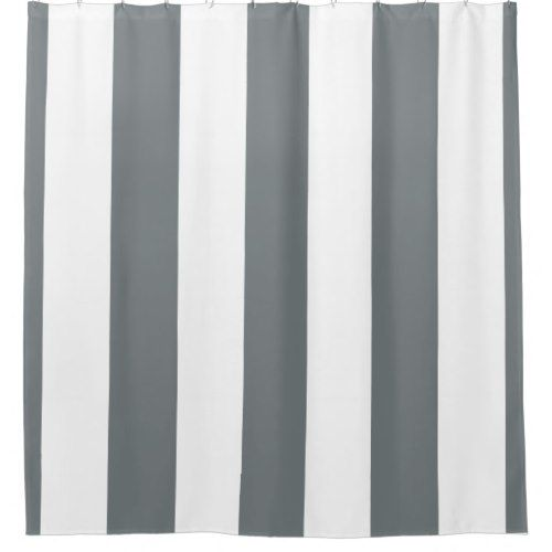 Huge Charcoal Gray White Vertical Stripe Nl 3 Shower Curtain