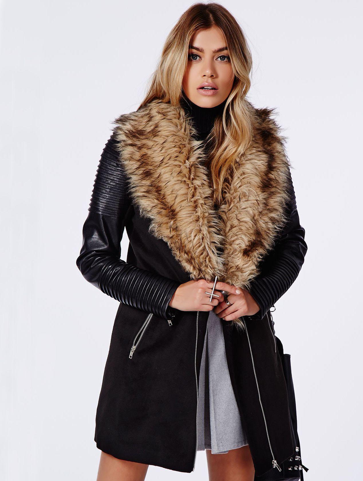 Black PU Leather Sleeve Faux Fur Lapel Coat Sheinside