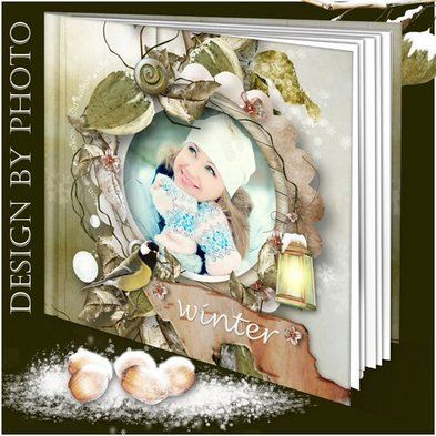 Free Christmas photo album template psd, winter photobook psd