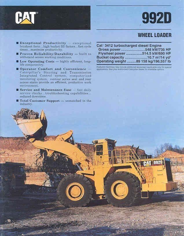 1993 caterpillar 992d construction loader brochure mw7395 9cmvhi rh pinterest com