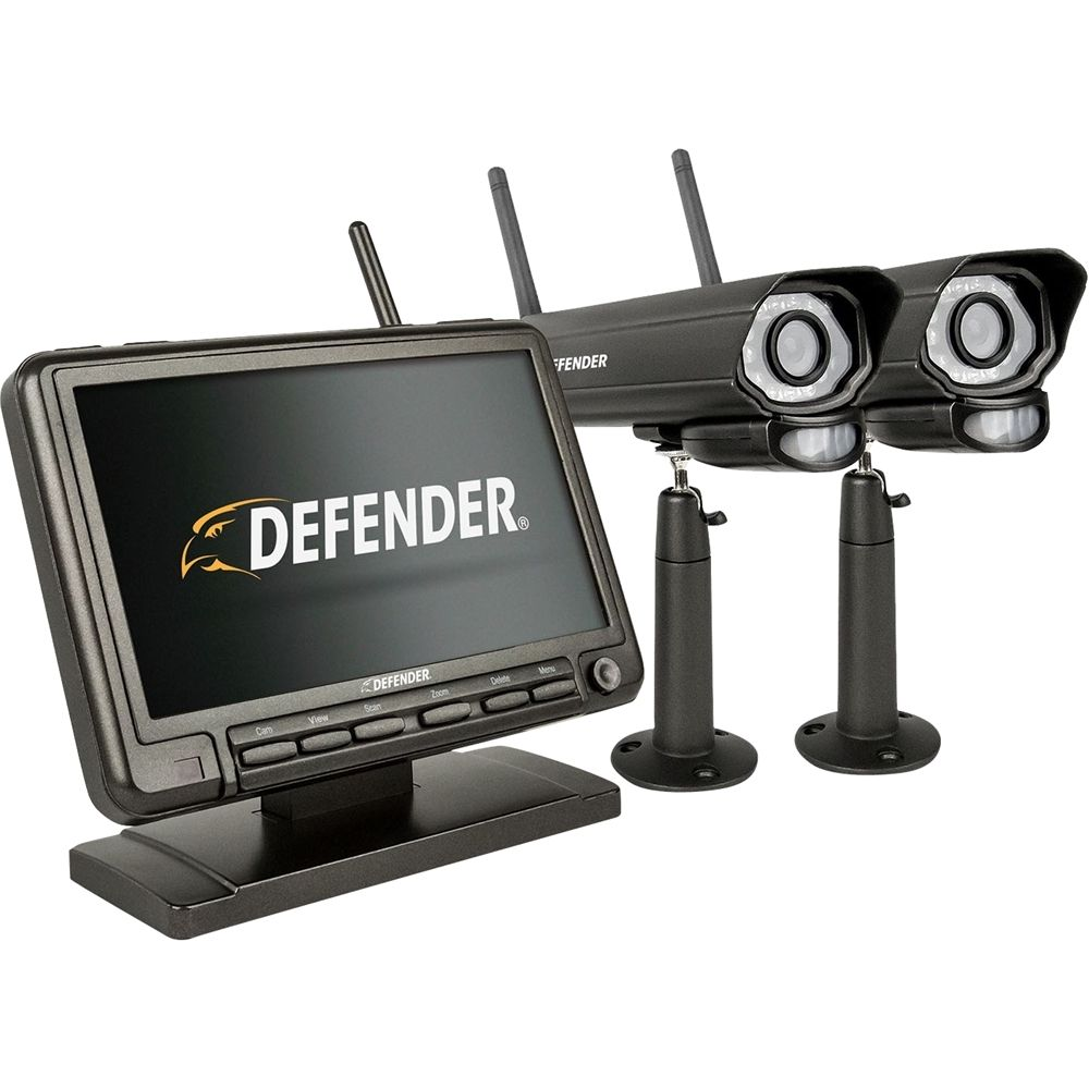 Defender - PhoenixM2 4-Channel, 2-Camera Indoor/Outdoor Wireless 640x480 4GB DVR Security System - Black