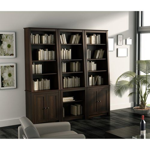 Prepac Tall Slant Back Bookcase   Espresso With 2 Shaker Doors   Bookcases  At Hayneedle