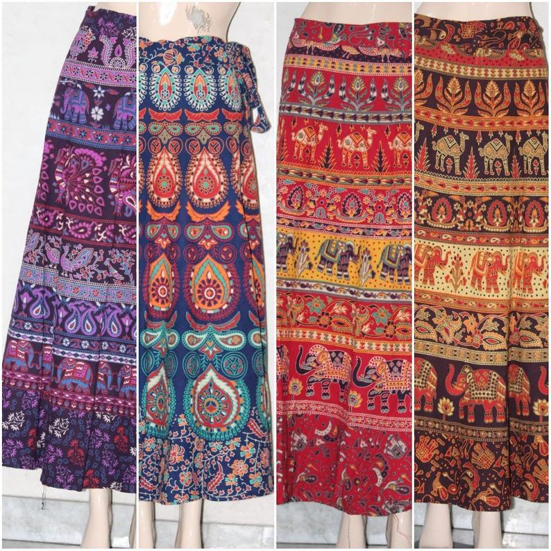 Hippie Skirts Summer Skirts MIX LOT 5 PCS Skirt Natural Skirt,Bohemian Hippie Gypsy Skirt,rayon Women Skirt mix color skirt