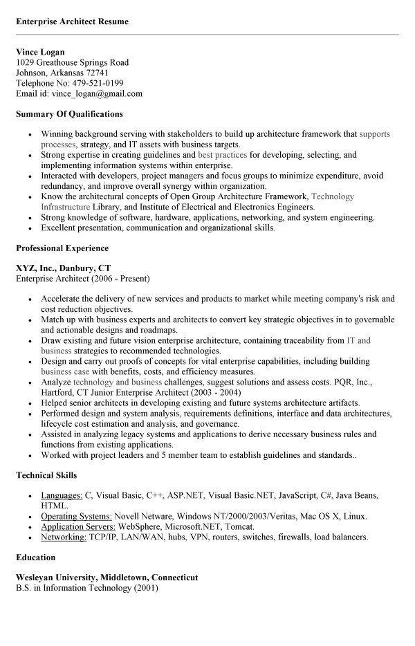 Enterprise Architect Resume Example build Pinterest - sample architect resume