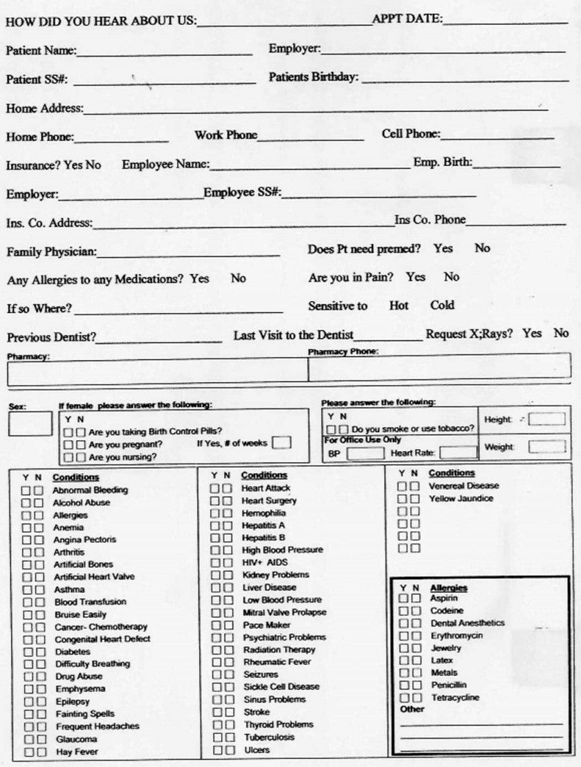 Dental Patient Medical History Form For Medical History Form Medical History Form Medical History Health History Form Dental medical history update form template