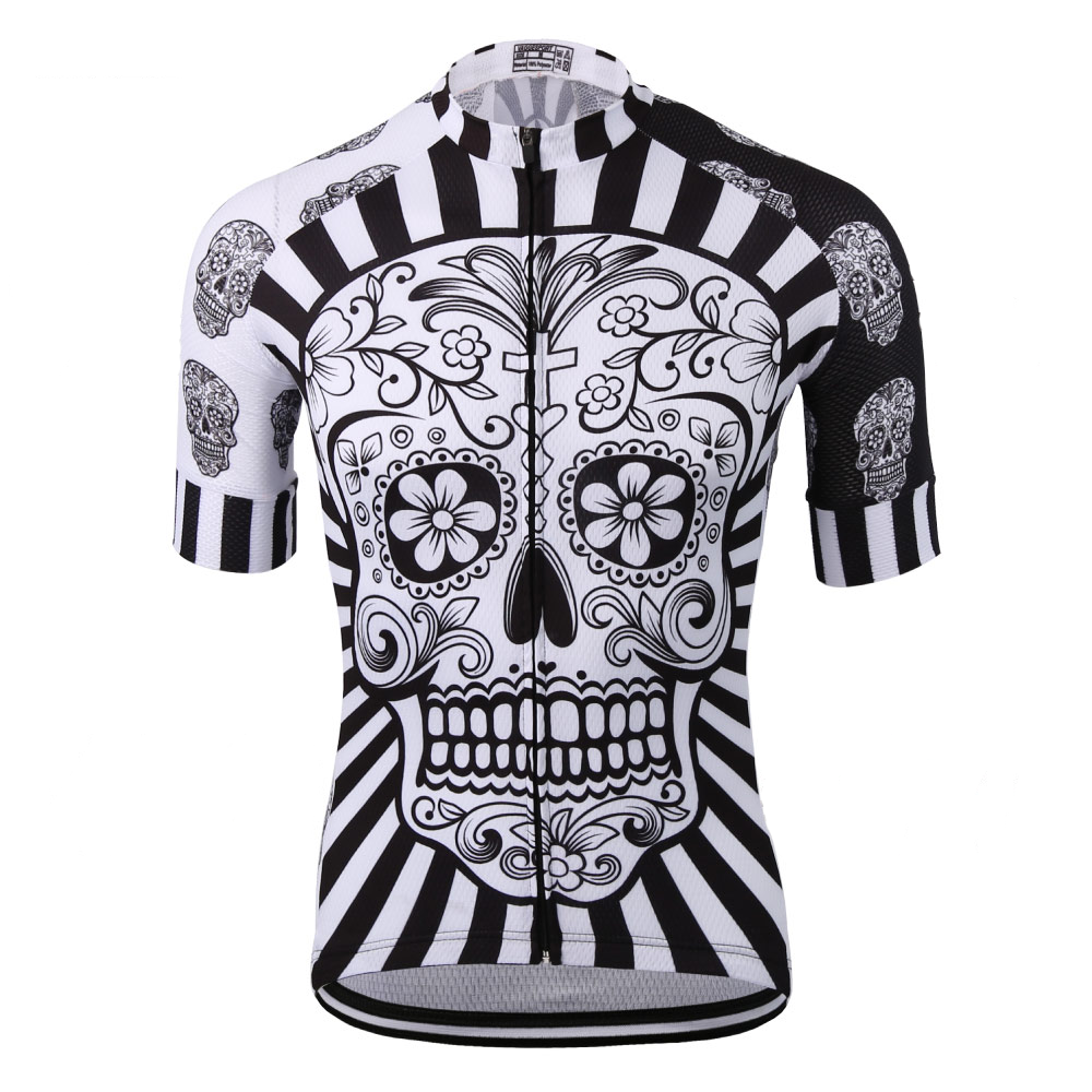 White Skull Sublimation Printing Cycling Jersey Cycling