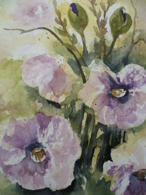 Watercolor Image Poppy Flowers Purple Abstract Original Floral Watercolor Watercolor Images Watercolor Poppies Floral Watercolor