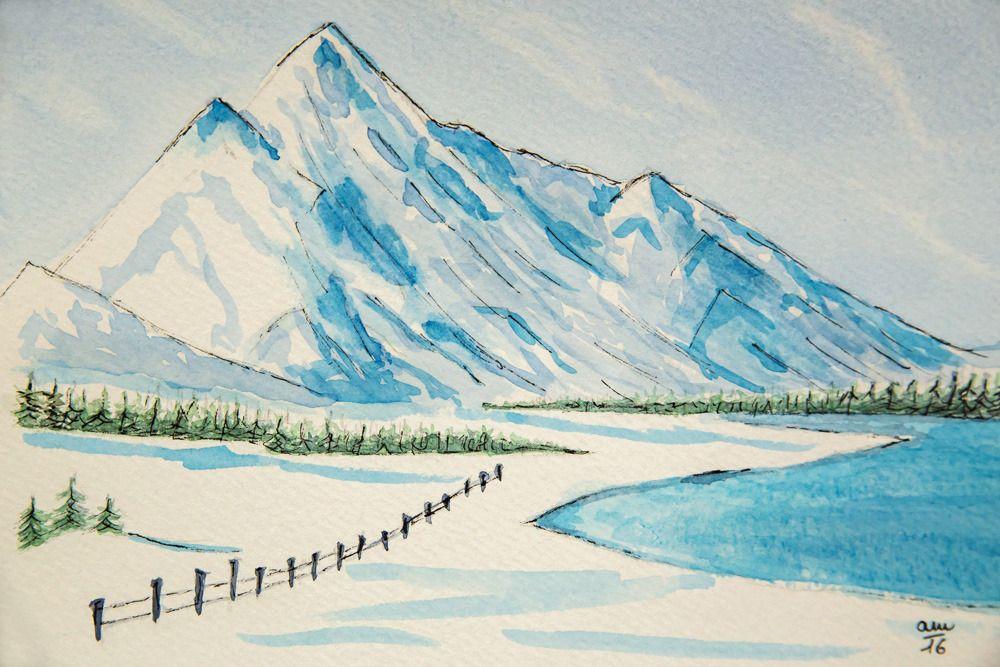 Paysage De Montagne Enneige Peinture Realisee A L Aquarelle
