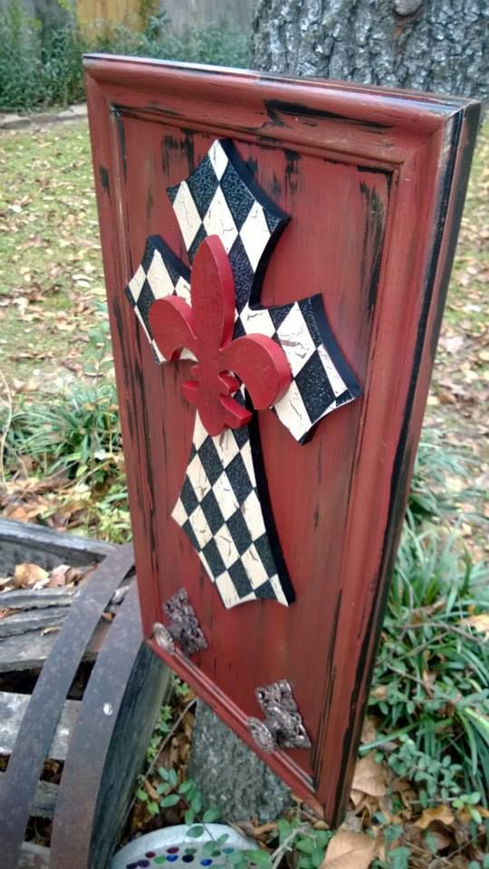 Repurposed Upcycled Cabinet Door In Primer Red And Black Fleur De Lis Harlequin Cross And 2