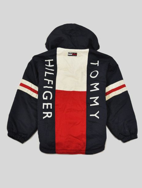 Jacket Vintage 90s Style Aaliyah Navy Red White Tommy