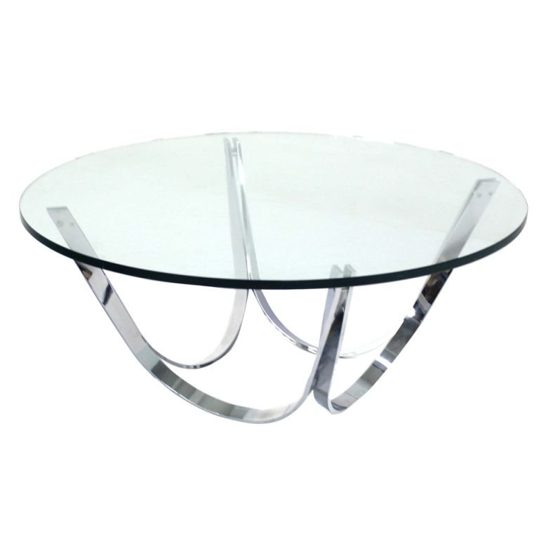 Roger Sprunger for Dunbar Chrome and Glass Coffee Table Mid