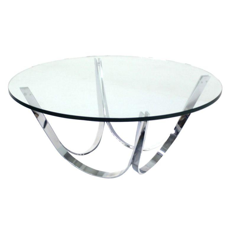 roger sprunger dunbar chrome and glass mid century modern coffee table mid century modern. Black Bedroom Furniture Sets. Home Design Ideas