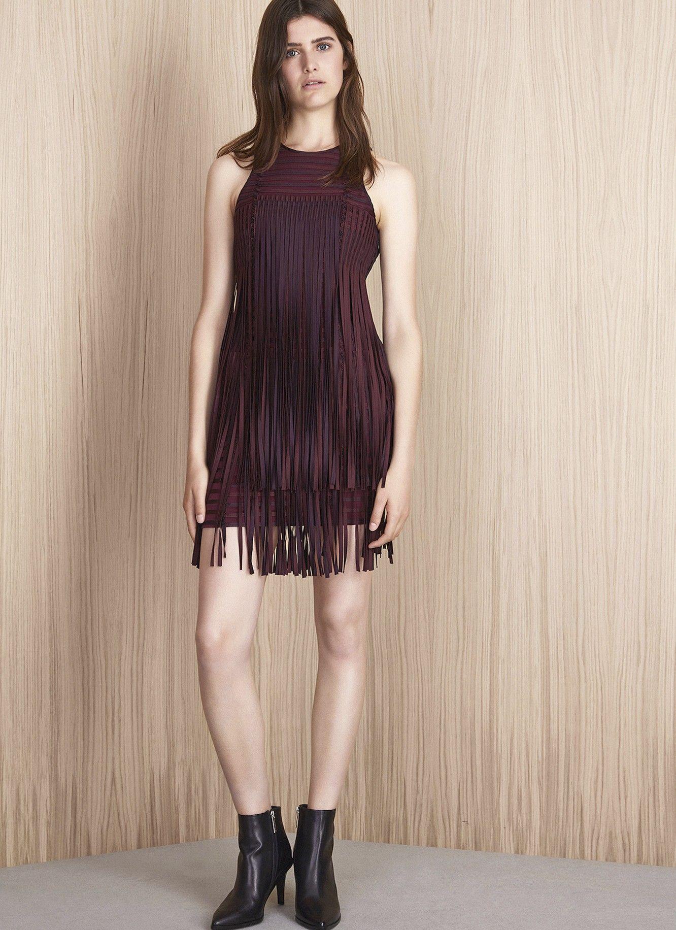 Vestido corto con flecos ad mujer adolfo dominguez for Vestidos adolfo dominguez outlet online