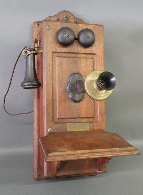 Walnut Cased Wall Phone By Kellogg Chicago Usa Antique Phone
