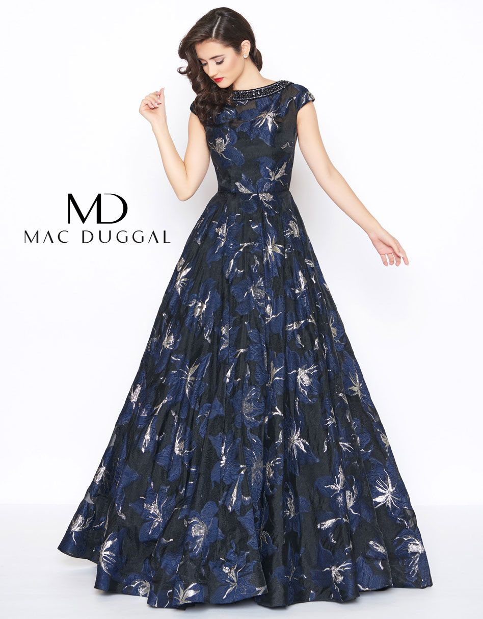 4d4c1e9564d Patterned, a-line, cap sleeve, scoop neck evening gown, with beaded  neckline.