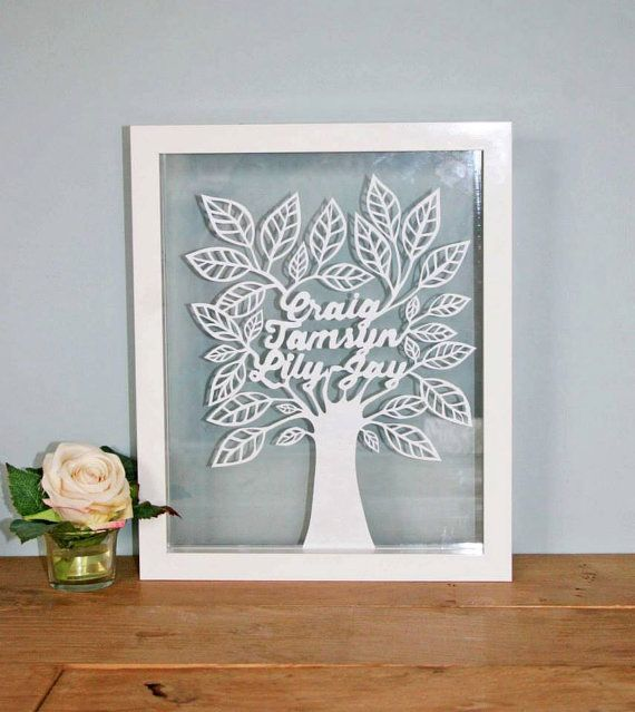 Framed hand cut personalised family tree by tamsynlewis on Etsy, £50.00