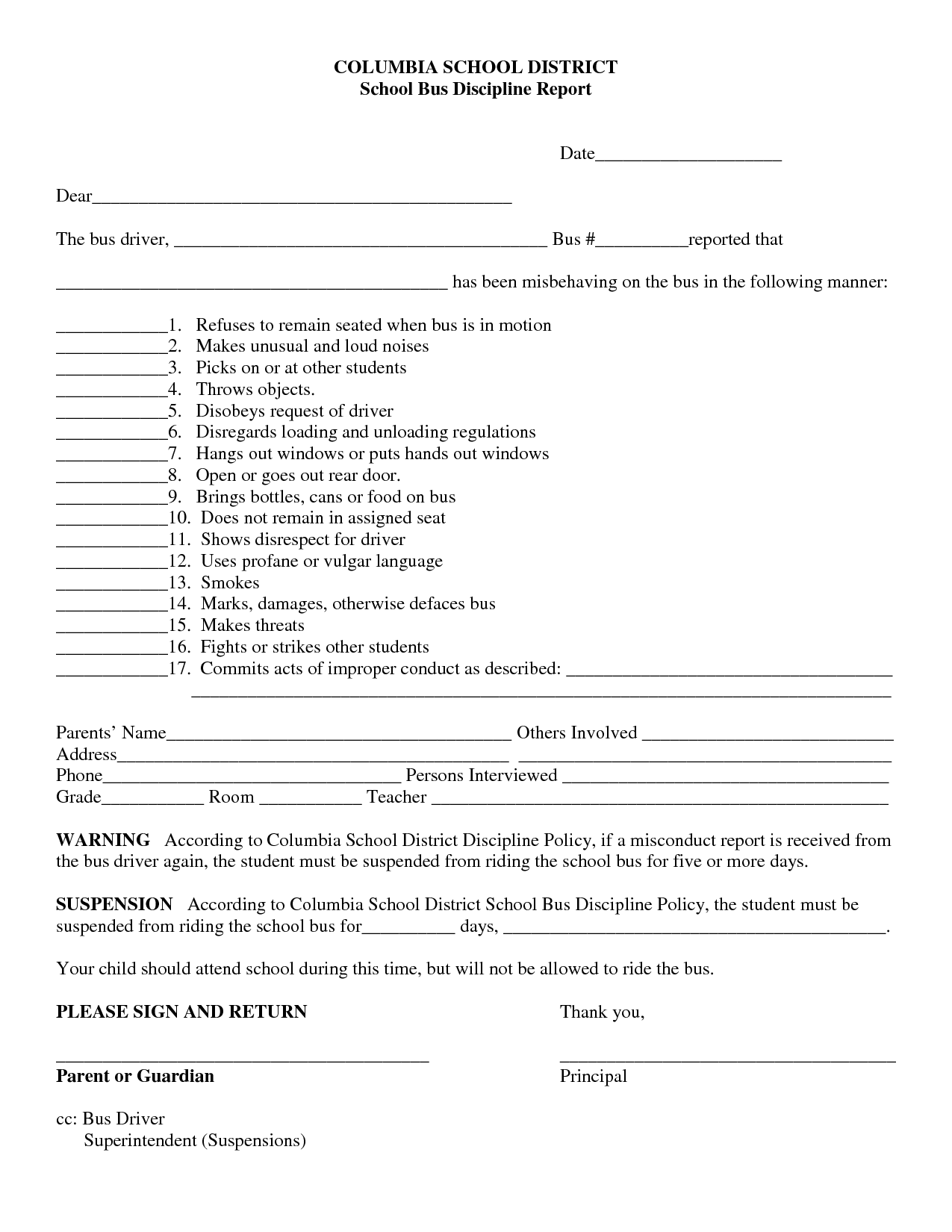 school bus misbehavior form