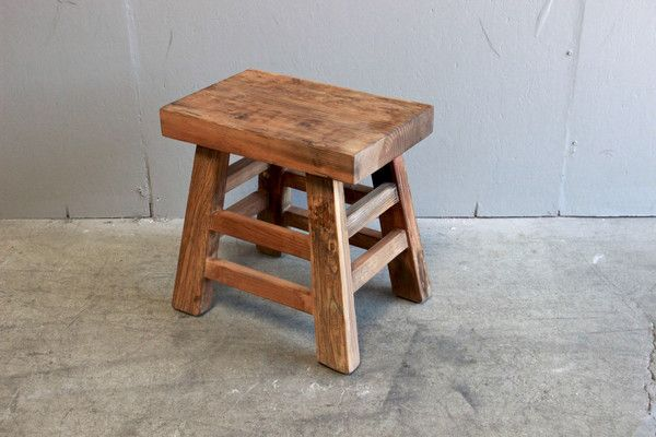 "For Tom to build; Rugged, reinforced four-legged wooden stool with flat surface seating. Legs angle outward. Dimensions: 21""W x 14""D x 21""H *Shipping : We prefer to quote shippin"