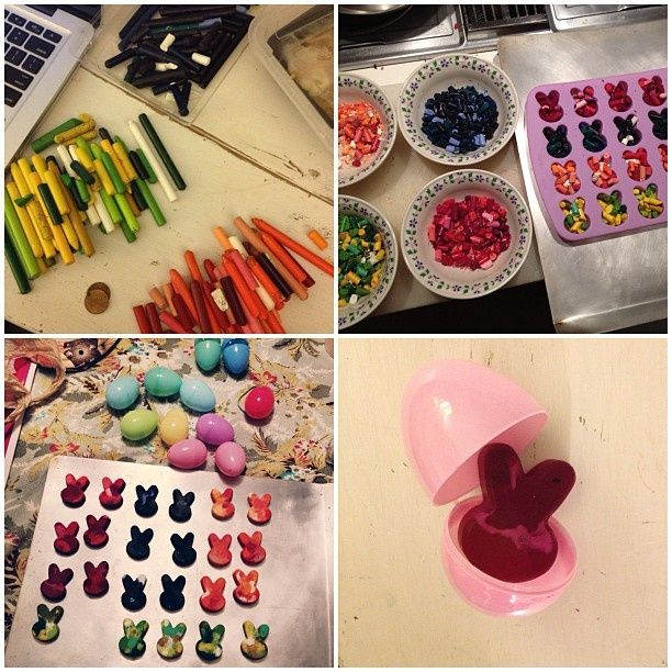 DIY Easter Bunny crayons, perfect as a toddler easter egg filler, plus other toddler friendly, non-food related easter egg filler ideas #diy food ideas