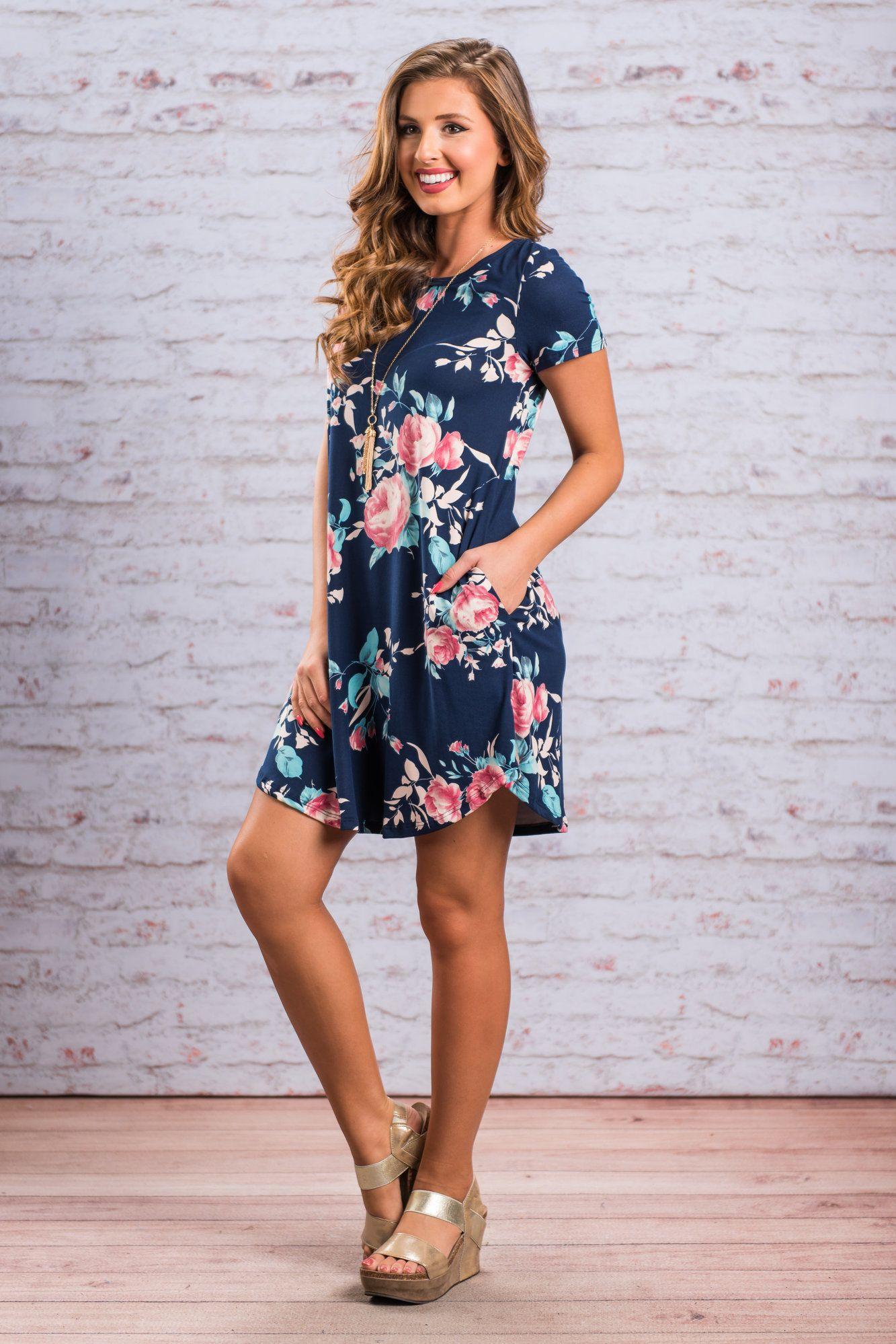 3134ea1ae7f4 Navy Blue Pocket Design Short Sleeve Summer Floral Shirt Dress ...