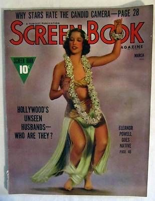 SCREEN BOOK MAGAZINE MARCH 1939 ELEANOR POWELL, CLARK GABLE, GINGER ROGERS!