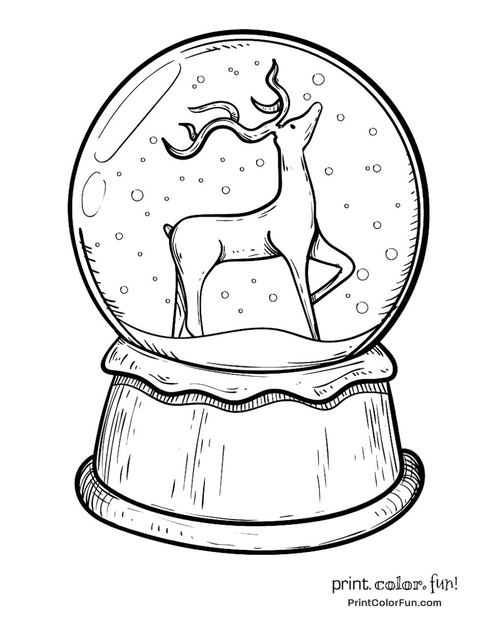 Color Christmas Pictures To Draw.Christmas Snow Globe With Reindeer Christmas Christmas