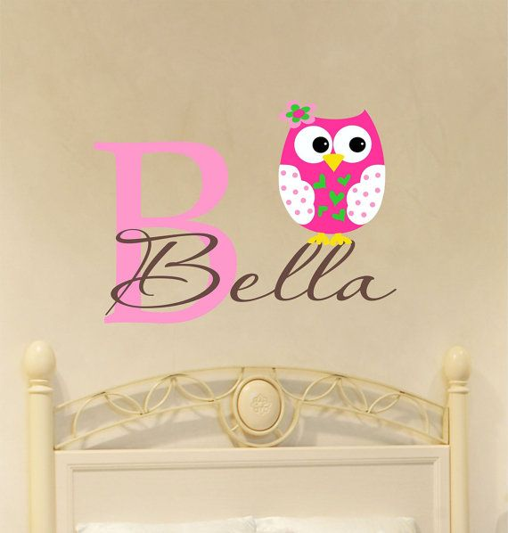 Owl Decal Personalized with Name - Name Wall Decal ...