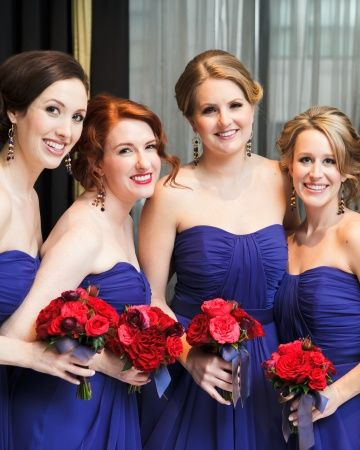 Bridesmaids in vibrant @Lela Johnson Johnson Johnson Johnson Johnson Johnson Rose dresses