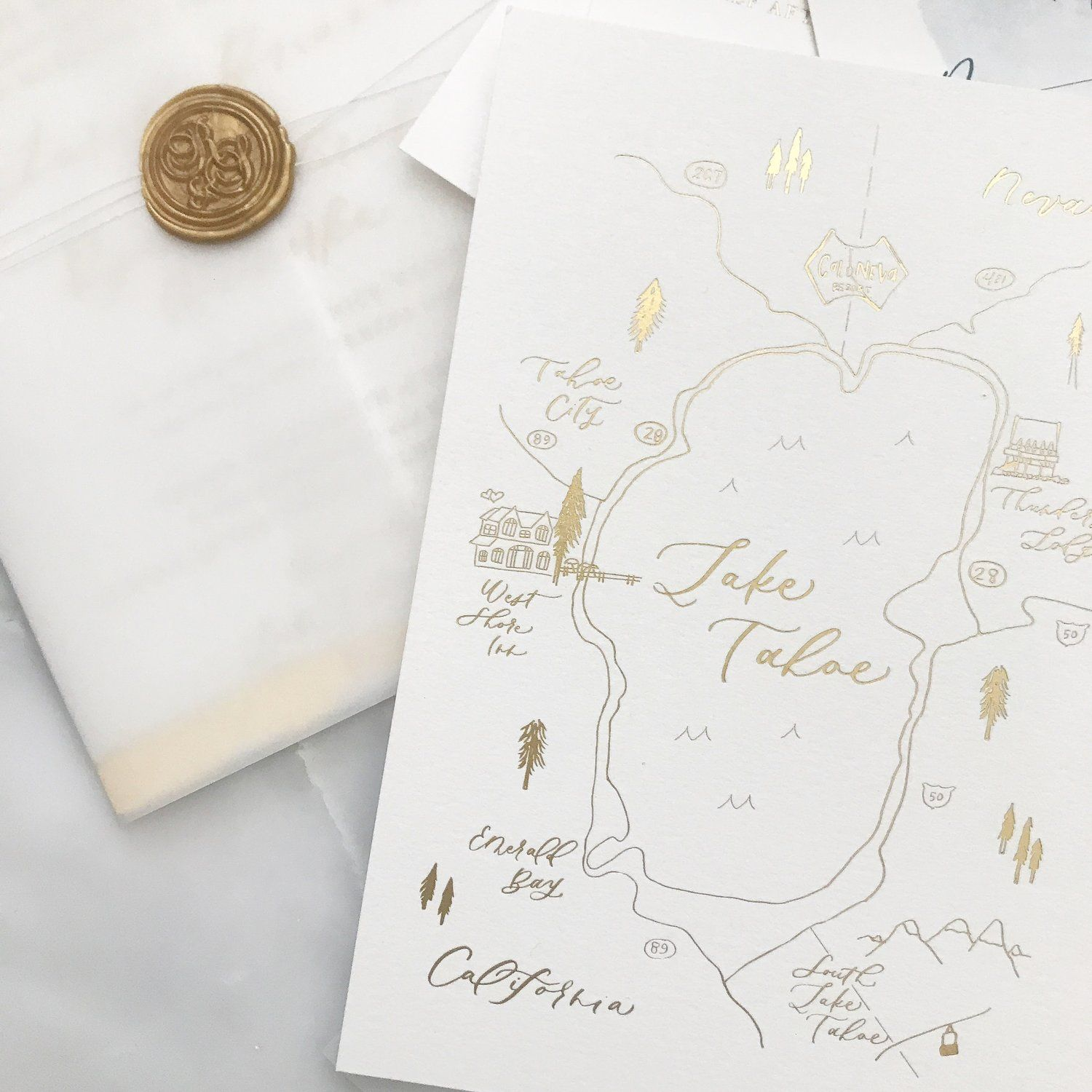 Gold Foil Lake Tahoe Wedding Map With