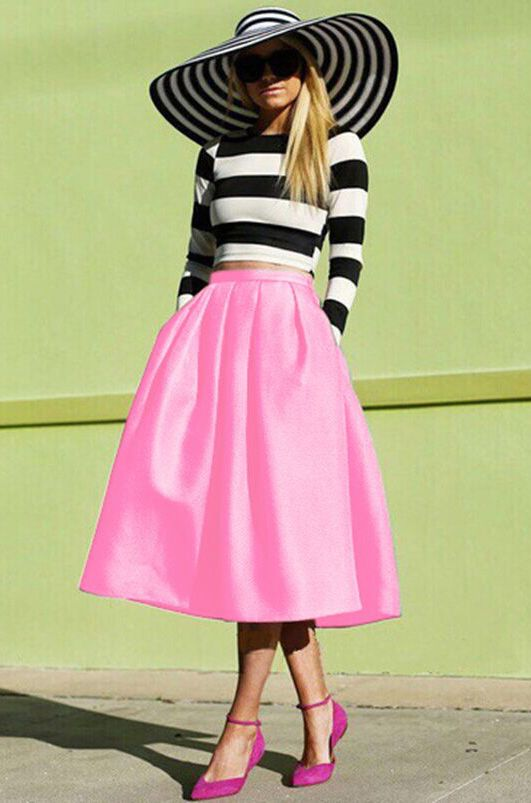 Pink Flare Pleated Midi Skirt 18.33 | ¯`•.¸¸.ஐPINK FASHION~PINK ...