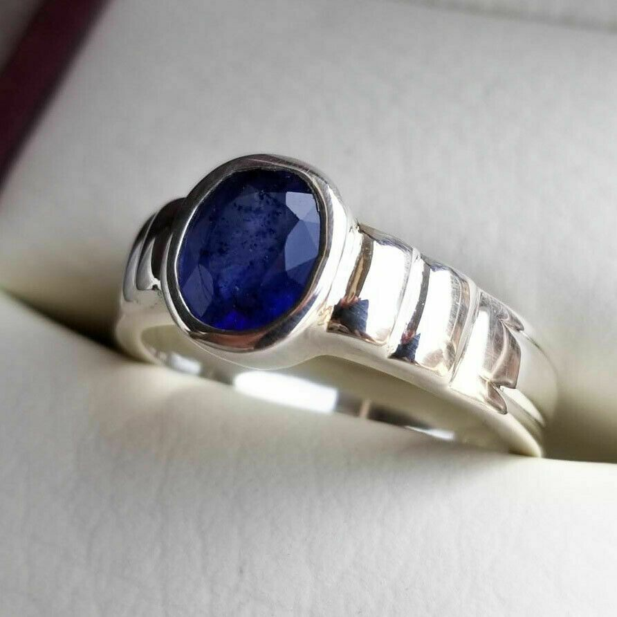 Genuine Blue Sapphires Man Unisex Sapphire Silver Ring Gents Band Sterling Silver