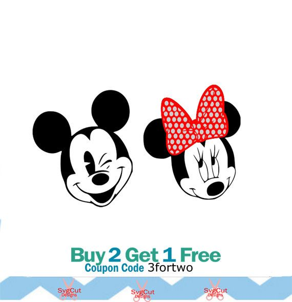 Minnie and Mickey SVG Dxf Eps Png For Silhouette by svgcutdesigns