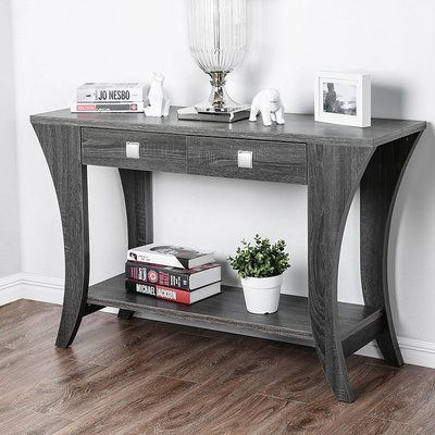 Winston Porter Pless Wooden Console Table In 2020 Modern Console Tables Wooden Console Table Wooden Console