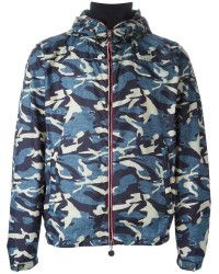 e86ae5fdf Men s Blue Camo Hooded Zip-up Jacket