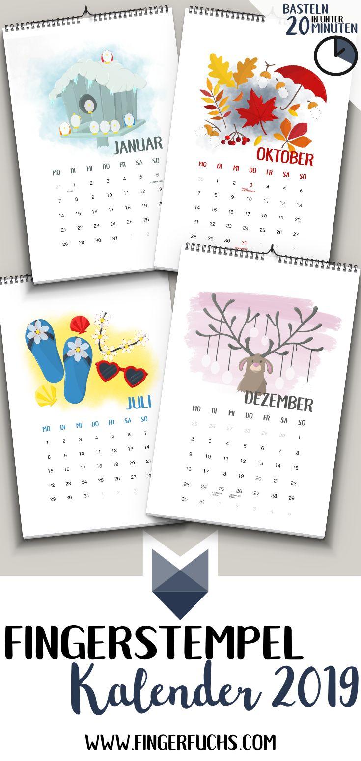 einfach kalender basteln mit kindern fingerstempel. Black Bedroom Furniture Sets. Home Design Ideas