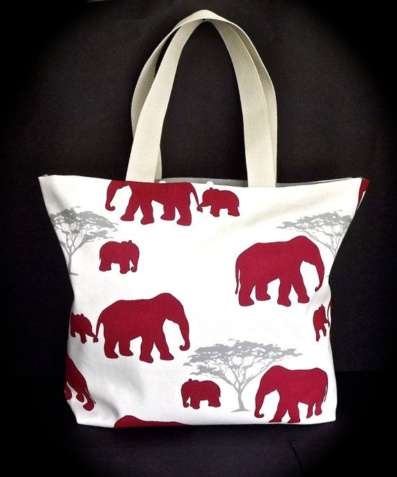 Red Elephant Cotton Beach Bag | Bags, Beaches and Etsy