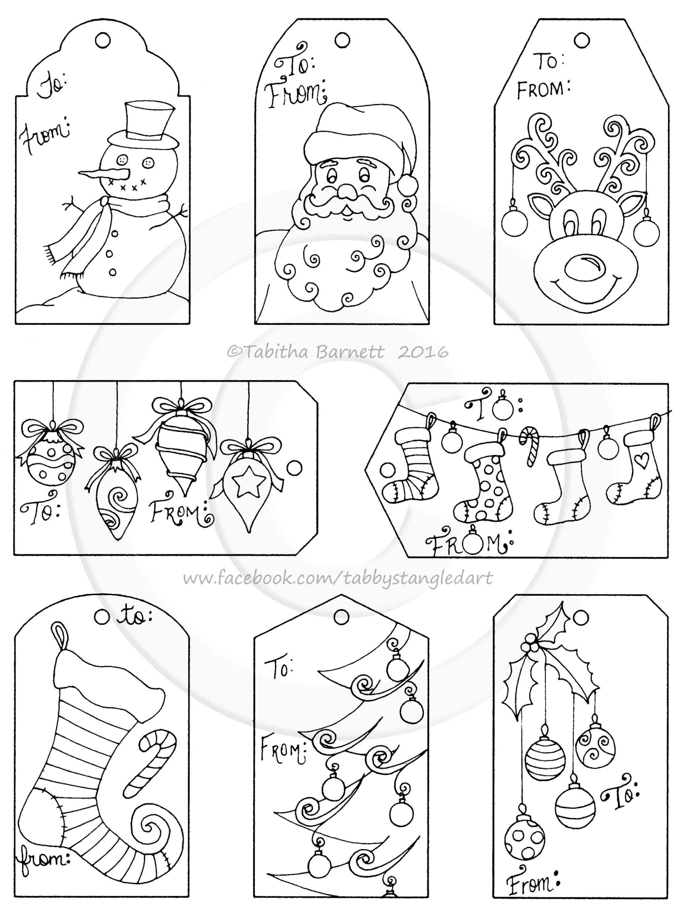 Print Color and Cut Hand Drawn Cute Christmas Gift Tags