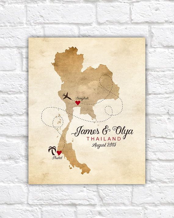 Thai Wedding Gifts: Thailand Map Wedding Gift, Engagement, Honeymoon, Custom