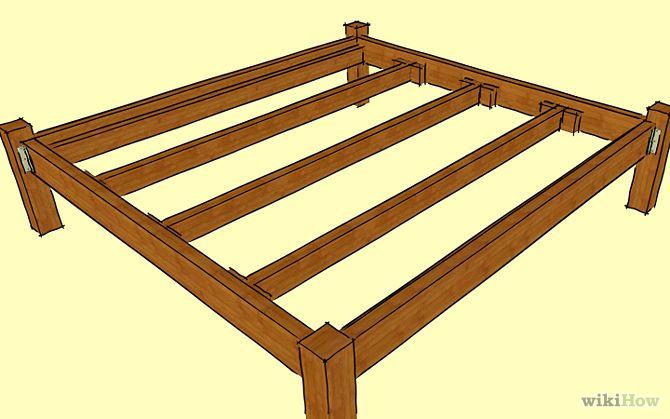 Comment Construire Un Cadre De Lit En Bois Wooden Bed Frames Wooden Bed Diy Bed Frame