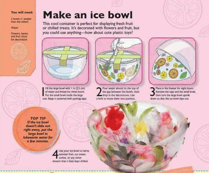 Make An Ice Bowl - To use with desserts that are chilled.