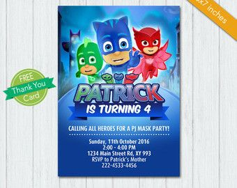 PJ Masks Invitation PJ Masks Invite PJ Masks Birthday Pj Mask - Pj masks invitation template free